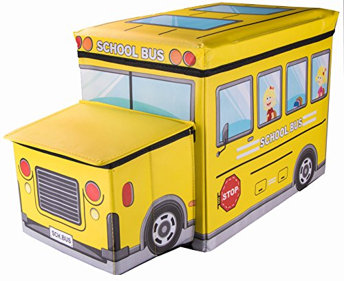School Bus Collapsible Toy Storage Box and Closet Organizer with Storage Hood for Kids (Box Tops For School compare prices)