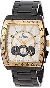 Le Chateau Men's 5409MGUN_WHT Sports Dinamica Collection with Chrono and Military-Time Gun-metal Watch