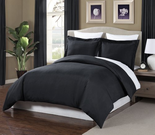 Chezmoi Collection 3-Pieces Microfiber Duvet Cover Set, Queen, Black