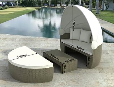 Garteninsel Bozen grau / beige Sonnenliege Liege Rattan Polyrattan mit Aluminiumgestell von Jet-Line - Gartenmöbel von Du und Dein Garten