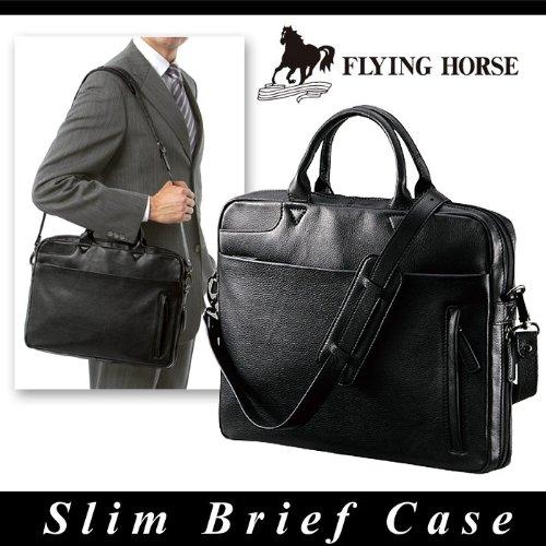 FLYING HORSE フライングホース ビジネスバッグ ブリーフケース ショルダー 馬革 スリム エンボス メンズ ブラック gk-2018
