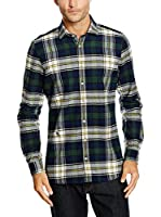 OTTO KERN Camisa Casual (Verde Oscuro / Beige)