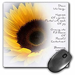 3dRose LLC 8 x 8 x 0.25 Inches Mouse Pad, Sunflower Dream Poem (mp_36148_1)