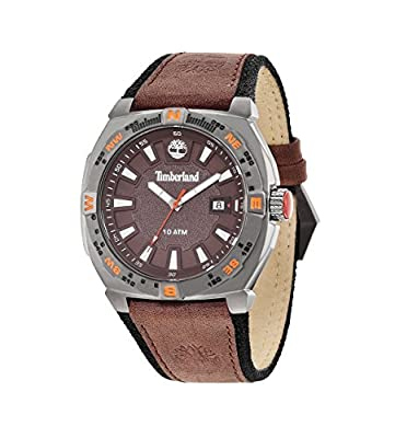Timberland Men's Quartz Watch with Brown Dial Analogue Display and Brown Leather Strap 14364JSU/12