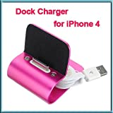 Pink Aluminum Desk Dock Cradle Station Stand Charger + USB sync Cable for iPhone 4S 4