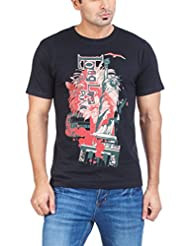 Zovi Men's Cotton Long Live Punk Black Graphic T-shirt (11182100701)