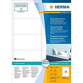 Herma 10316 Étiquettes movables/amovibles 99,1 x 57 A4 1000 pièces Blanc