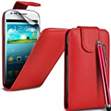Mega.Deals4U® - PU Leather Flip Case For SAMSUNG GALAXY ACE STYLE SM G310HN INCLUDING STYLUS PEN + SCREEN PROTECTOR + CLEANING CLOTH (Red)