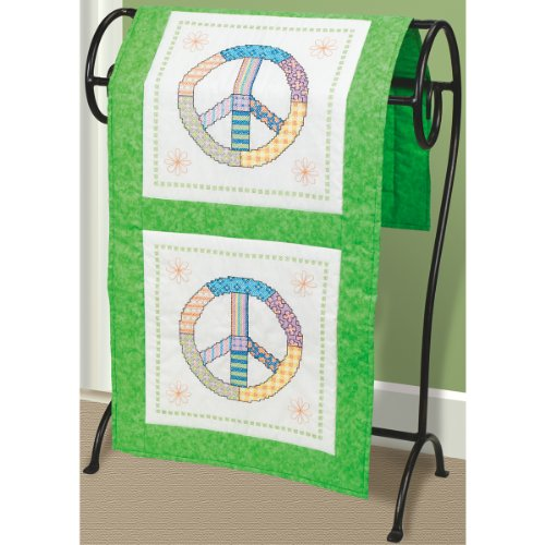 Janlynn Stamped Cross Stitch Quilt Blocks, Peace Sign front-82754