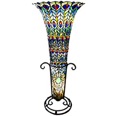 River of Goods 10809 Stained Glass Tiffany Style Peacock Floor Vase Lamp, 43-Inch, Green/Blue/Purple/Red