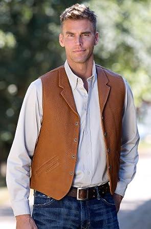 Men's Gage Bison Leather Vest, COGNAC, Size 38