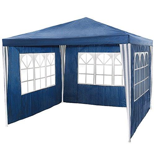 TecTake Gazebo Padiglione da giardino per eventi il campeggio festa della birra 3 x 3 m blu