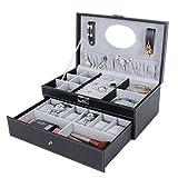 Songmics Black Leather Jewelry Box 6 Watch Organizer Storage Case with Lock & Mirror UJWB11B