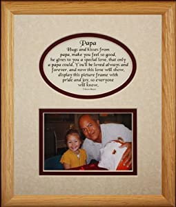 8x10 PAPA Picture & Poetry Photo Gift Frame ~ Cream/Burgundy Mat ~ Heartfelt Keepsake Picture Frame for Papa from Grandchild or Grandkids ~ Gift Idea for Grandparents Day, Birthday or Christmas