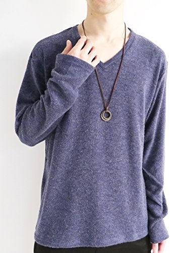 (モノマート) MONO-MART 全面 起毛 セーター ニット ニットソー Vネック 暖かい カジュアル ビジネス モード メンズ ネイビー フリーサイズ