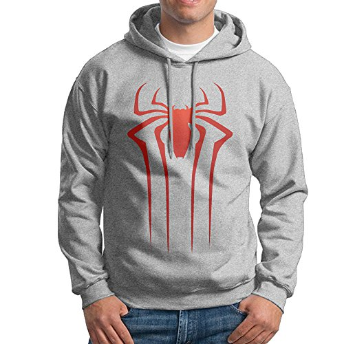 JXMD Men's The Amazing Spider Hoodie Ash Size XL