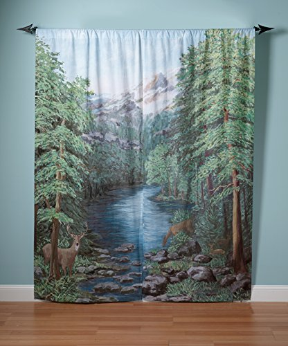 curtain drape valance panel window art mural view living room sliding door patio ebay. Black Bedroom Furniture Sets. Home Design Ideas
