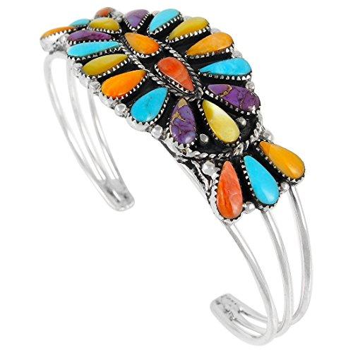 Southwest Style Bracelet 925 Sterling Silver Genuine Turquoise & Gemstones Jewelry
