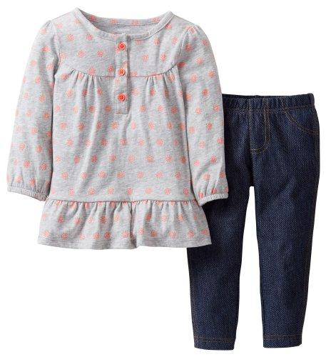 Carters Girls 3-24 Months Long Sleeve Henley Legging Set (12M)