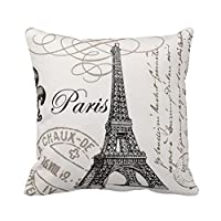 Paris Eiffel Tower Stamp Square Custom Throw Pillow Case Personalized Cushion Cover Pillowcase Pillow Cover 16x16 from Piillow