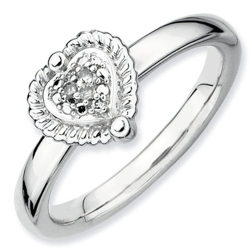 Heart with Diamonds Stackable Ring - Size 5