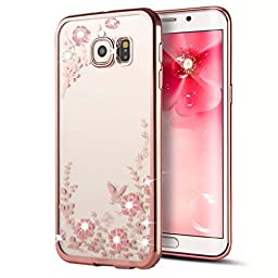 Samsung Galaxy S7 Edge Case,Inspirationc® [Secret Garden] Rose Gold and Pink TPU Plating Clear Shiny Cover Series for Samsung Galaxy S7 Edge--Swarovski
