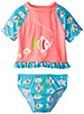 Wippette Little Girls 'Pescado Rashguard Set, Pop Pop, rosa, 2T Color: Rosa Tamaño: 2T (Baby/Babe/Infant - Little Ones)