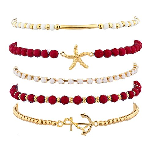 [Lux Accessories Red Nautical Starfish Anchor Arm Candy Set (5PC)] (Arm Candy Costume)