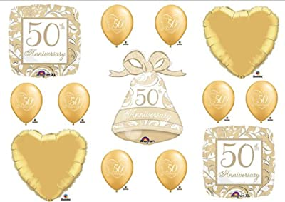 50th Fiftieth Anniversary Party Balloons BELL Decorations Supplies Favors