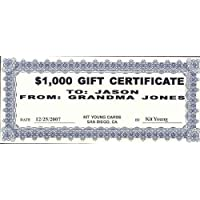 1 - $1000 Gift Certificate Kit Young Cards 78891
