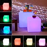 """Black Friday Promotion!! LOFTEK®Outdoor/Indoor Rechargeable LED Light, Cordless with RGB Colorful Changing Remote Control Changing. (Cube 8"""")"""