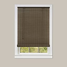 Single Piece 36x72 Cocoa Almond Roll-up Blind, Includes Hardware, Striped Pattern with Indoor or Outdoor use, Durable Vinyl Material, Light Filtering, Automatic Cord Lock & Adjustable, Dark Mocha