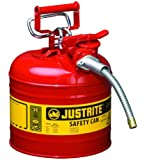 Justrite AccuFlow 7220120 Type II Galvanized Steel Safety Can, 2 Gallons Capacity, Red