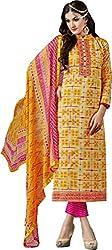 Sanvan Beautiful Yellow & Pink Cotton Salwar Suit Material