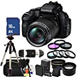 Fujifilm FinePix HS50EXR Digital Camera Kit. Includes: 0.45X Wide Angle Lens, 2X Telephoto Lens, 3 Piece Filter Kit (UV-CPL-FLD), 16GB Memory Card, Extended Life Replacement Battery, Tripod, Carrying Case & More