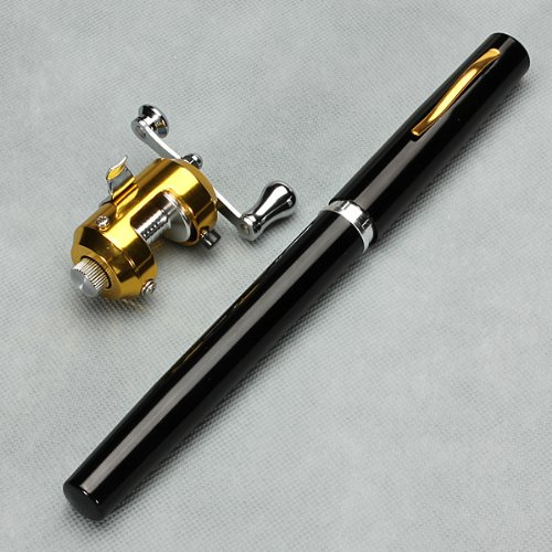 Black 38inch Mini Portable Pocket Pen Shape Aluminum Alloy Fishing Rod Pole Reel
