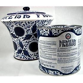 Amarena Fabbri Ceramic Serving Crock Vase with Serving Spoon and Amarena Fabbri Cherries (7 Pound 1 Ounce Tin)