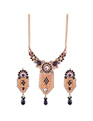 Gehna Antique Brass Gold And Black Colored Necklace Set