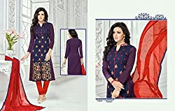 Snapyshopy Graceful Blue Colord Emboidered Work Cotton Straigth Suit