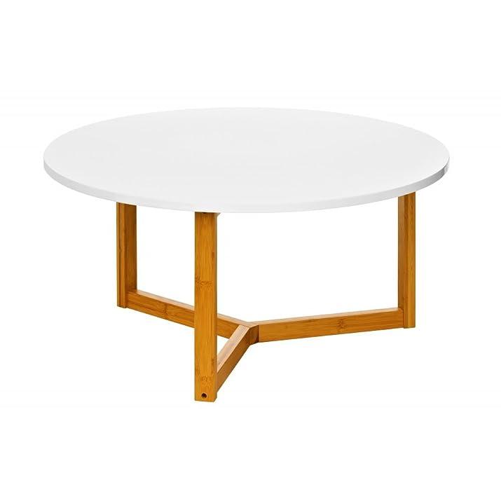 Fusion Living Tavolino da salotto bianco lucido con gambe di bambù