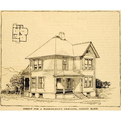1890 Print Workingmans Home Architectural Design Floor