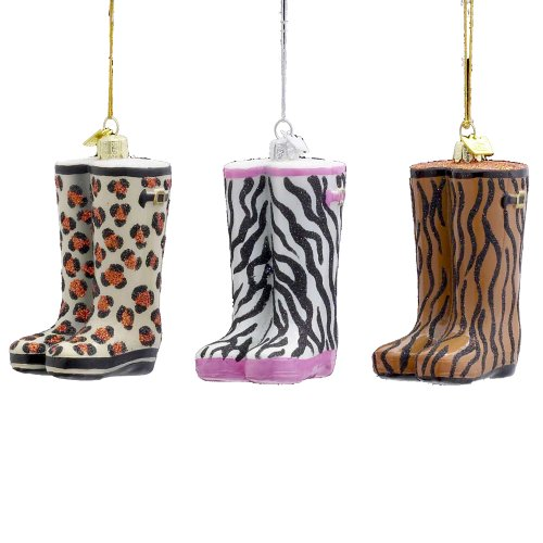 Christmas tree boot ornaments - Kurt Adler 4-Inch Noble Gems Animal Print Wellies Rain boot Glass Ornaments, Set of 3
