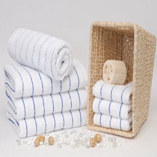 Royal Resort Collection - Set of 2 Luxury Pool / Beach Towels, Pure White with Heather Blue Stripes