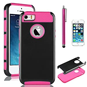 iPhone 5S Case, Pandamimi ULAK Fashion Sweety Girls TPU + PC 2-Piece Style Soft Hard Case Cover for iPhone 5 5S with Free Screen Protector and Stylus (Black & Rose Pink)