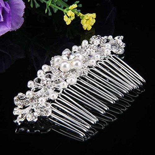 skyllc peigne cheveux plaqu d argent strass perle fleur cisel pour mari e 44x87mm. Black Bedroom Furniture Sets. Home Design Ideas