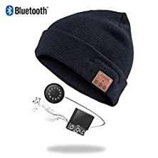 buy Zibaar Latest Bluetooth V4.1 Bluetooth Headphone Beanie Wireless Bluetooth Hat With Removable Bluetooth Headset And Microphone; Hands Free Talking, Plain Cuff Design - Unisex - Black