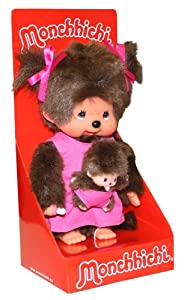 Sekiguchi 236200 - Monchhichi Mutter mit Baby in pink Kleidchen