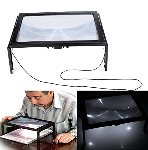 Letter Enlarge Device A4 Size Table Glass Magnifier W/ LED Light 4 pcs 3X Poor Eyesight Enhance Suit for Reading Map, Book, Crafting Small Pieces DIY Etc. Older Best gift BK-S10 (Sewing Table Assistant compare prices)