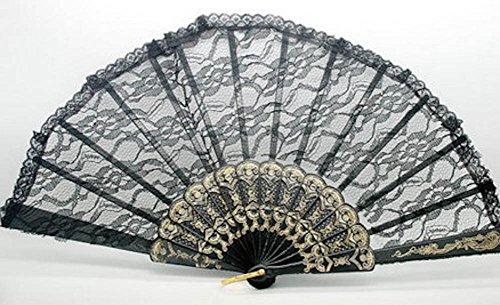 Black  Style Folding Hand Lace Dance Flower Pocket Fan Wedding Party Decor 4 Color
