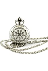 Youyoupifa Women's Stainless Steel Hunter-case Necklace Pendant Pocket Watch (White)